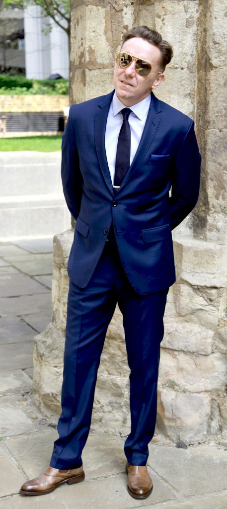 dark blue Italian wool suit